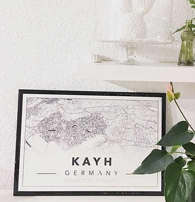 Große Freude über die selbst designte Mapiful Poster Alternative - hier Kayh bei 71083 Herrenberg