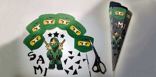 Kreative BastelIdee Ninjago Schultüte von Pixel-Puls