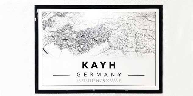 Mapiful Städte Poster von Kayh bei Herrenberg