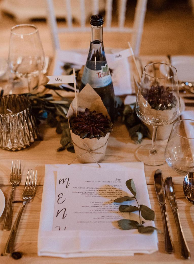 MENÜKarten für eine Hochzeit