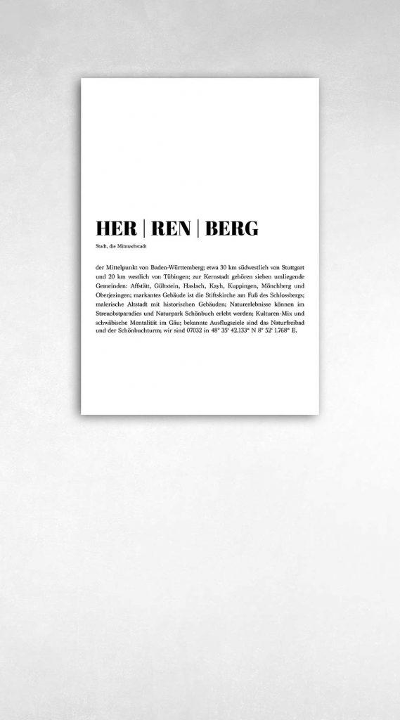 Poster über die Stadt Herrenberg Wanddeko