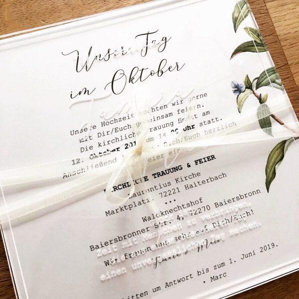 Plexiglas Titelseite Hochzeitseinladung